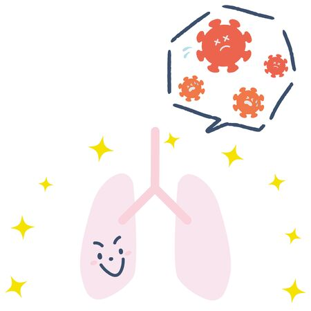 This is an illustration of a healthy lung that is not defeated by the virus. Vector image.