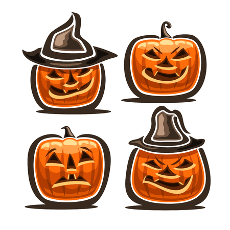 Set of Halloween Pumpkins: 4 orange Jack-o-Lantern with different characters in hats, icons of halloween symbols with evil smile and fright emotion, fear halloween pumpkin lantern jack on white