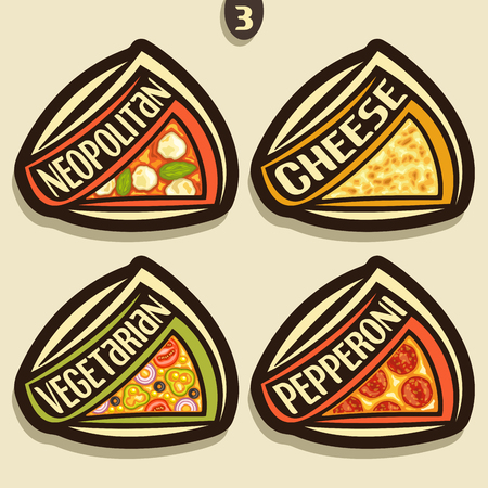 Vector set signs for italian Pizza: 4 labels for pizzeria menu with title text, triangle slices of different kinds of pizza top view with original font, design logos for pizza in fast food restaurant.