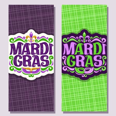 Illustration pour Vector vertical banners for Mardi Gras carnival, invite tickets with purple venetian mask, original font for festive text mardi gras on green, symbol fleur de lis, layouts for carnival in New Orleans. - image libre de droit