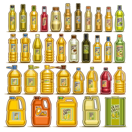 Illustration for Vector set of Cooking Oil in Bottles, 34 cut out illustration of containers with refined oily product with label, glass jar with yellow virgin cholesterol liquid, can and jerrycan with extra maize oil - Royalty Free Image