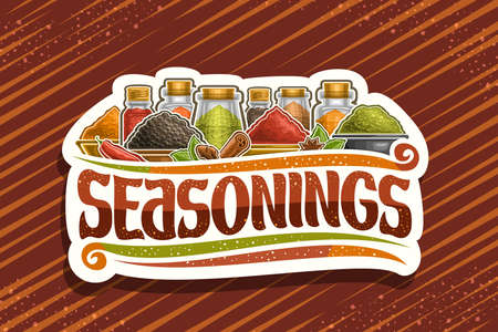 Illustration pour Vector for Indian Seasonings, white decorative signboard with illustration of set organic spices in glass containers and different bowls, sign board with unique brush letters for word seasoning. - image libre de droit