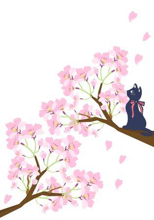 Illustration pour Illustration of a cat climbing a tree with cherry blossoms - image libre de droit