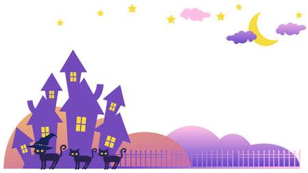 Illustration pour The landscape with the mansion and the black cat - image libre de droit