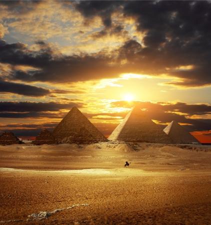 Sunset over Giza pyramids. Egypt