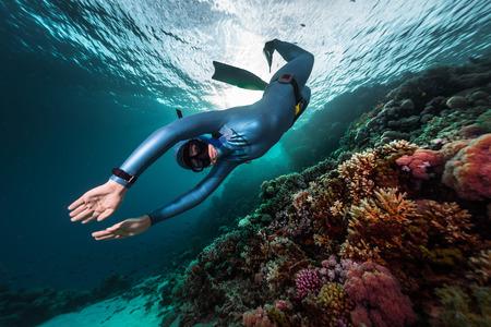 Photo pour Free diver swimming underwater over vivid coral reef. Red Sea, Egypt - image libre de droit