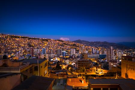 City of La Paz at twilight, Bolivia
