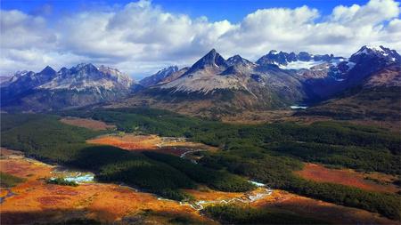 Aerial panorama of the Los Lobos valley near the town Ushuaia, Tierra del Fuego, Argentina