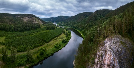 Photo pour Aerial view of the river of Belaya and Ural Mountains, Russia - image libre de droit