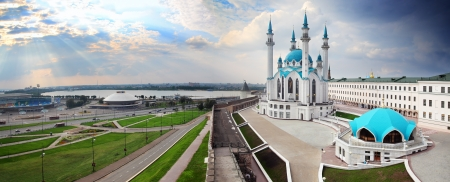 panorama with kul sharif mosque in kazan kremlin russia
