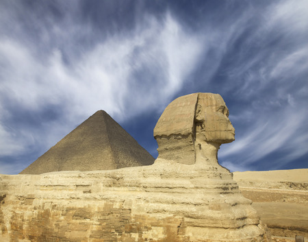 Famous ancient egypt Cheops pyramid and sphinx in Giza Cairo