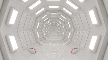 Photo pour Futuristic SCIFI corridor interior - image libre de droit