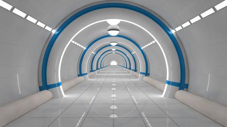 Foto de 3d render. Futuristic corridor architecture - Imagen libre de derechos