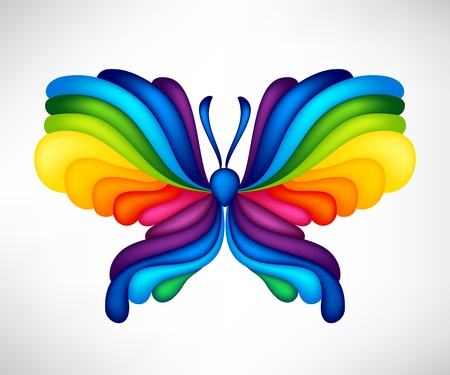 Abstract vector butterfly of color of rainbow