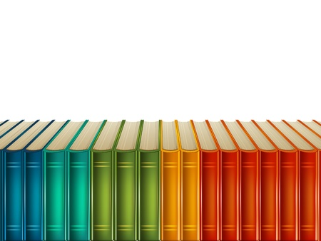 Illustration pour Multi-coloured books isolated on white background - image libre de droit