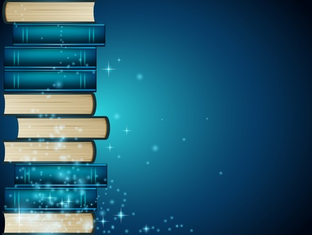 Heap of books on dark blue background