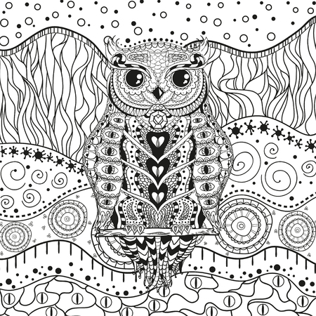 Illustration pour Mandala with owl on isolated white. Zentangle. Hand drawn abstract patterns on isolation background. Design for spiritual relaxation for adults. Black and white illustration for coloring - image libre de droit
