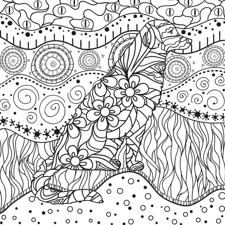 Square ornate wallpaper with dog. Hand drawn waved ornaments on white. Abstract patterns on isolated background. Design for spiritual relaxation for adults. Line art. Black and white illustration