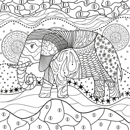 Illustration pour Abstract eastern pattern. Elephant on square mandala. Hand drawn animal with tribal patterns on isolation background. Design for spiritual relaxation for adults. Black and white illustration - image libre de droit