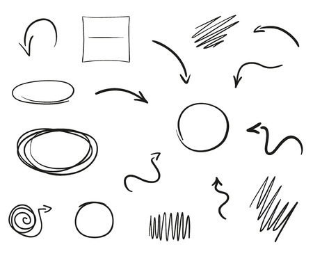 Illustration for Infographic elements on isolated white background. Hand drawn simple arrows. Set of different geometric shapes. Abstract indicators. Black and white illustration - Royalty Free Image