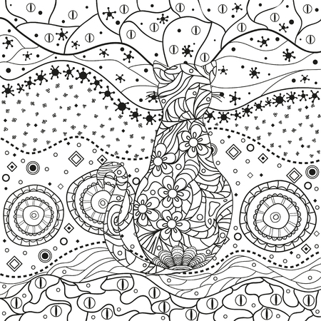 Illustration for Abstract asian pattern with ornate cat on isolated white. Hand drawn abstract patterns on isolation background. Design for spiritual relaxation for adults. Black and white illustration - Royalty Free Image