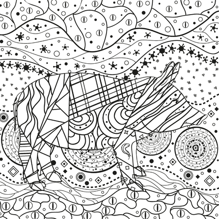 Illustration for Monochrome wallpaper with ornate pig. Hand drawn waved ornaments on white. Abstract patterns on isolated background. Design for spiritual relaxation for adults. Line art. Black and white illustration - Royalty Free Image