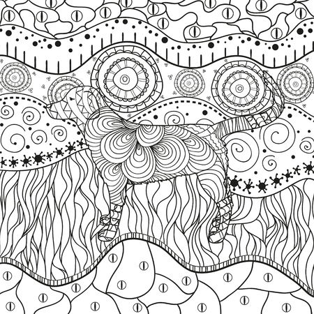 Square ornate pattern with dog. Hand drawn waved ornaments on white. Abstract patterns on isolated background. Design for spiritual relaxation for adults. Line art. Black and white illustration