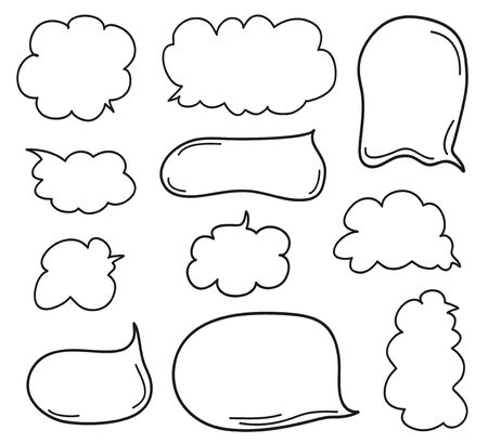 Illustration pour Hand drawn infographic elements on isolation background. Set of think and talk speech bubbles. Doodles on white. Black and white illustration - image libre de droit