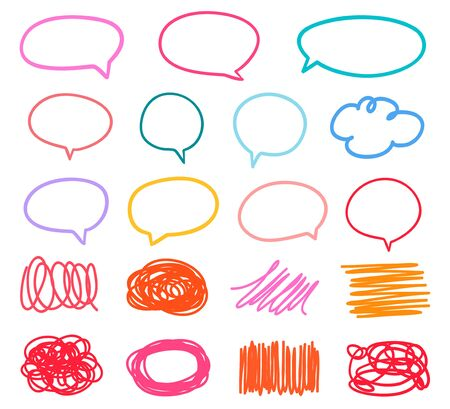 Illustration pour Colored sketchy shapes on white. Set of hand drawn think and talk speech bubbles. Scribble colorful backgrounds with array of lines. Line art creation - image libre de droit