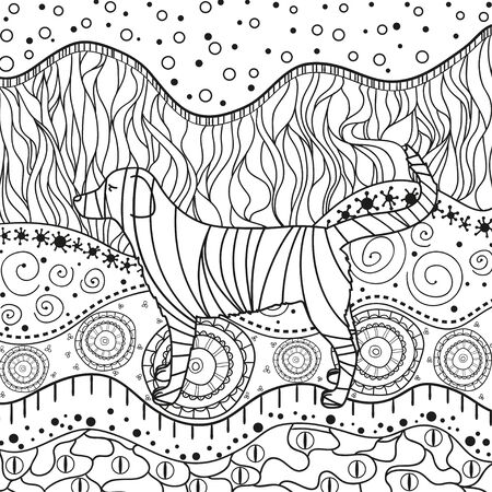 Abstract dog on ornate pattern. Hand drawn waved ornaments on white. Intricate patterns on isolated background. Design for spiritual relaxation for adults