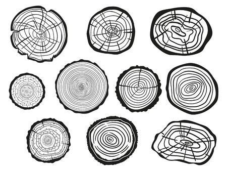 Illustration pour Tree rings on white. Set of cross section of the tree. Outline for polygraphy, banners, posters and other. Black and white illustration for work - image libre de droit