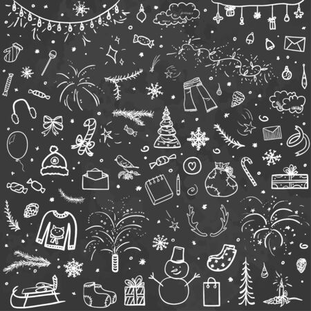 Illustration pour Hand drawn christmas background. Abstract chalkboard. Sketchy background with holiday elements. Design for your business. Black and white illustration - image libre de droit