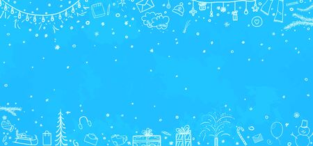 Illustration for Hand drawn christmas background. Abstract xmas chalkboard - Royalty Free Image