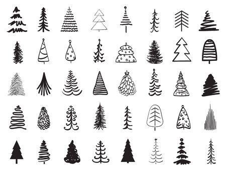 Illustration pour Christmas trees on white. Black and white illustration - image libre de droit