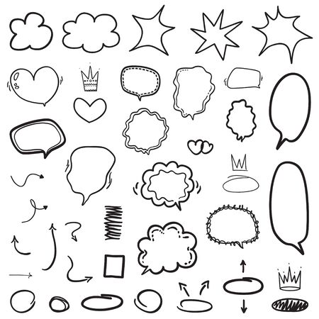 Illustration pour Set of hand drawn infographic elements. Many speech bubbles. Abstract speech bubble on white. Different circles and arrows. Black and white illustration - image libre de droit