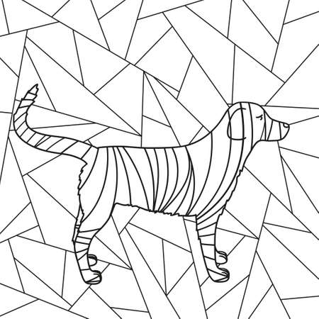 Illustration pour Abstract stained-glass window. Abstract dog. Design for spiritual relaxation for adults. Black and white illustration for coloring - image libre de droit