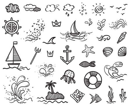 Illustration for Hand drawn holiday elements on isolated background. Sketchy doodles on white. Summer holidays. Signs and symbols. Black and white illustration - Royalty Free Image