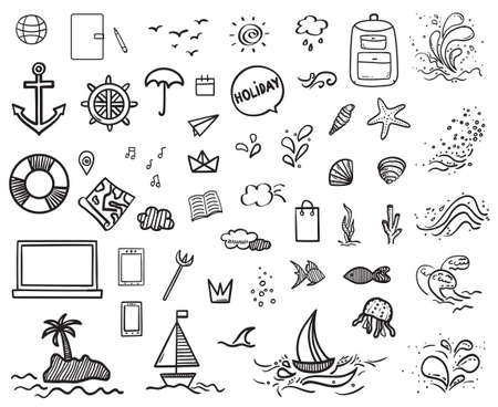 Illustration pour Hand drawn holiday elements. Sketchy doodles. Summer holidays. Freehand signs and symbols. Black and white illustration - image libre de droit