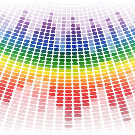 Rainbow warped digital equalizer on white background. RGB EPS 10 vector illustration
