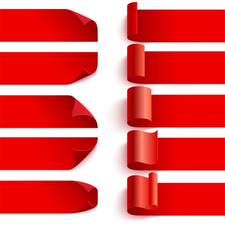 Set of curled red curled ribbons with shadows on white background. illustration. Can be placed on any background