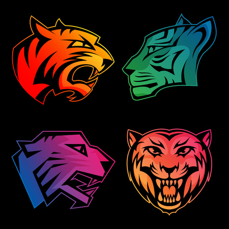 Colorful tiger head logos with rainbow gradients set on black background. RGB EPS 10 vector illustration