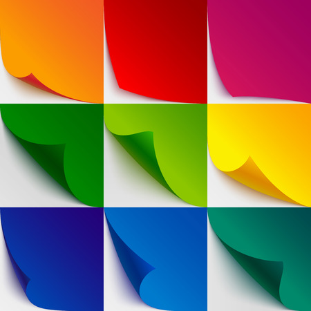 Set of 9 colorful paper curled corners and page turns with realistic shadows on white background. RGB EPS 10 vector illustration