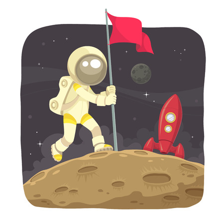 Space Adventurer  Astronaut landing on the moon and give a flag sign