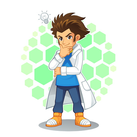 Cool Scientist Mascot Character. High quality vector cartoon mascot character of cool scientist.
