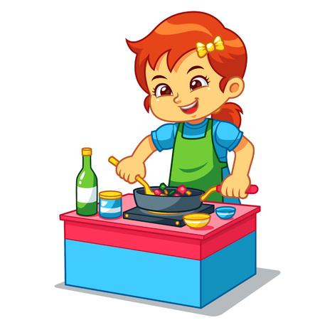 Illustration pour Girl Cooking To Make Delicious Food. - image libre de droit