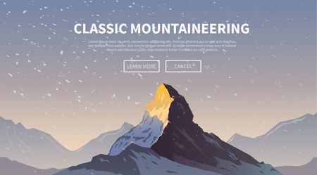 Vector background on the theme of Climbing, Trekking, Hiking, Mountaineering. Extreme sports, outdoor recreation, adventure in the mountains, vacation. Achievement. The Alps. The Matterhorn