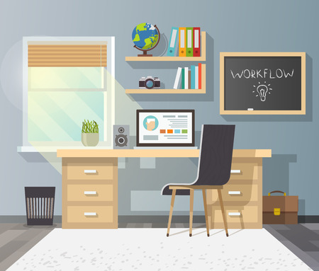 Workplace in sunny room. Stylish and modern interior.Quality design illustration, elements and concept. Flat style.2
