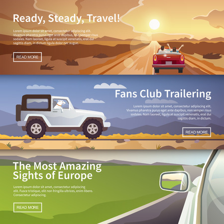 Ilustración de Colourful  vector flat banner set for your business, web sites etc. Quality design illustrations, elements and concept. Journey by car. Fans club trailering. Trip to Europe. - Imagen libre de derechos