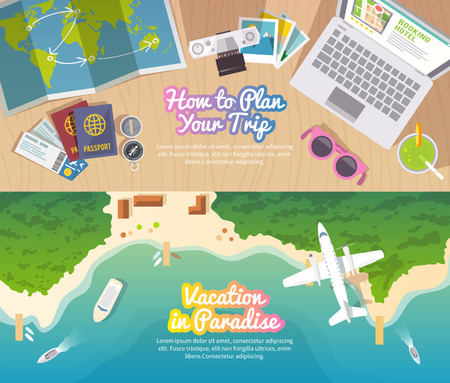 Illustration for Colourful travel vector flat banner set for your business, web sites etc. Quality design illustrations, elements and concept. Trip plan. Vacation in Paradise. Top view. - Royalty Free Image
