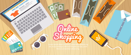 Illustration pour Colourful shopping vector flat banner for your business, web sites etc. Quality design illustrations, elements and concept. Online shopping. Buy online. Delivery. - image libre de droit